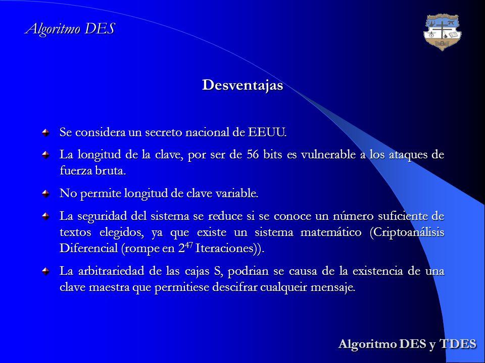Algoritmo DES y TDES Algoritmo DES y TDES Algoritmo DES Desventajas Se considera un secreto nacional de EEUU. La longitud de la clave, por ser de 56 b