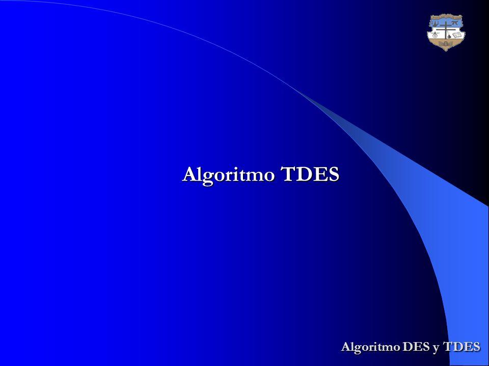 Algoritmo DES y TDES Algoritmo DES y TDES Algoritmo TDES