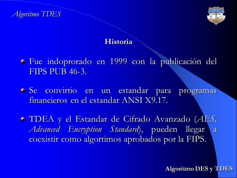 Algoritmo DES y TDES Algoritmo DES y TDES Fue indoprorado en 1999 con la publicación del FIPS PUB 46-3. Se convirtio en un estandar para programas fin