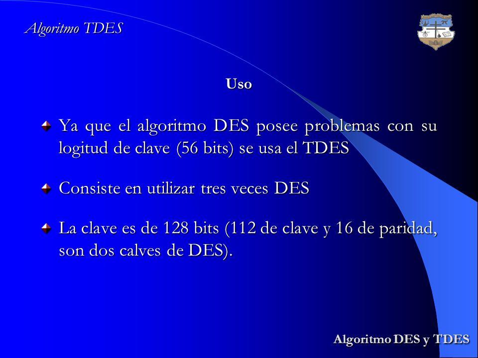 Algoritmo TDES Algoritmo DES y TDES Algoritmo DES y TDES Ya que el algoritmo DES posee problemas con su logitud de clave (56 bits) se usa el TDES Cons