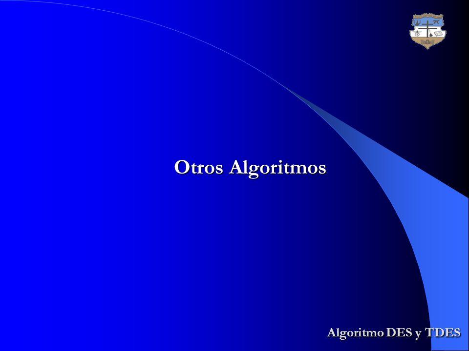 Algoritmo DES y TDES Algoritmo DES y TDES Otros Algoritmos