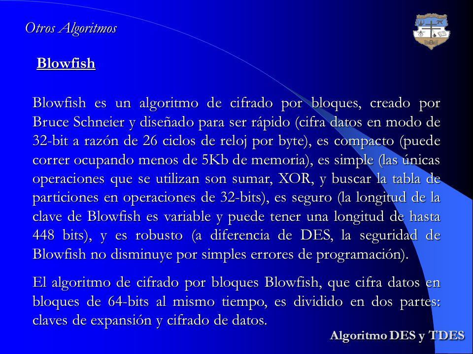 Algoritmo DES y TDES Algoritmo DES y TDESBlowfish Otros Algoritmos Blowfish es un algoritmo de cifrado por bloques, creado por Bruce Schneier y diseña