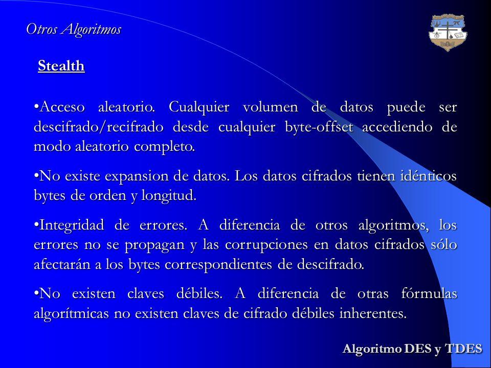 Algoritmo DES y TDES Algoritmo DES y TDESStealth Otros Algoritmos Acceso aleatorio. Cualquier volumen de datos puede ser descifrado/recifrado desde cu