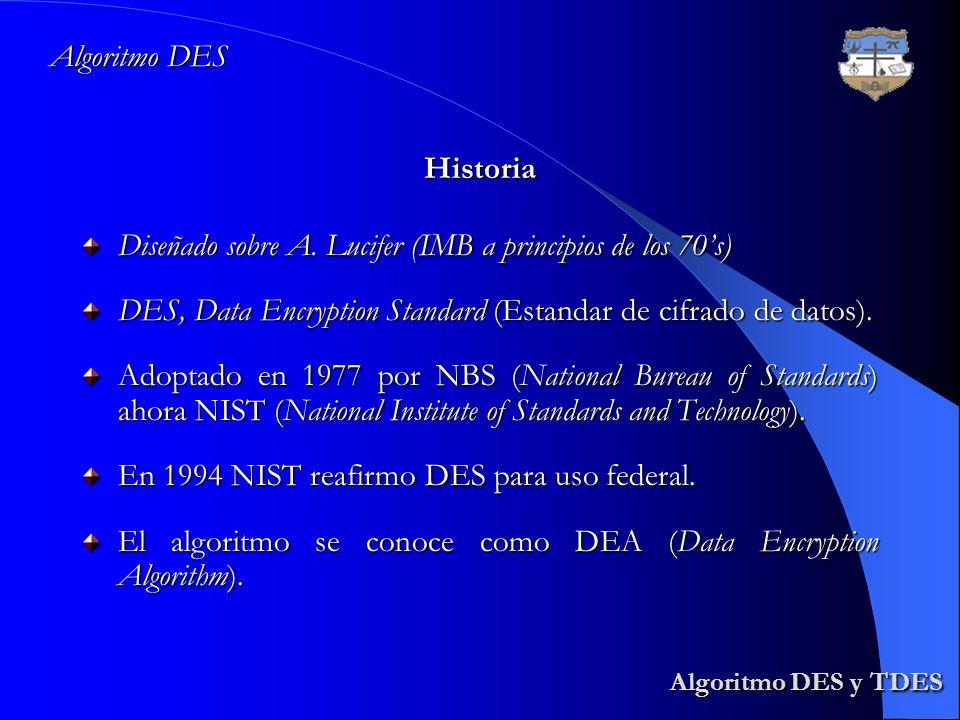 Algoritmo DES y TDES Algoritmo DES y TDES Diseñado sobre A. Lucifer (IMB a principios de los 70s) DES, Data Encryption Standard (Estandar de cifrado d