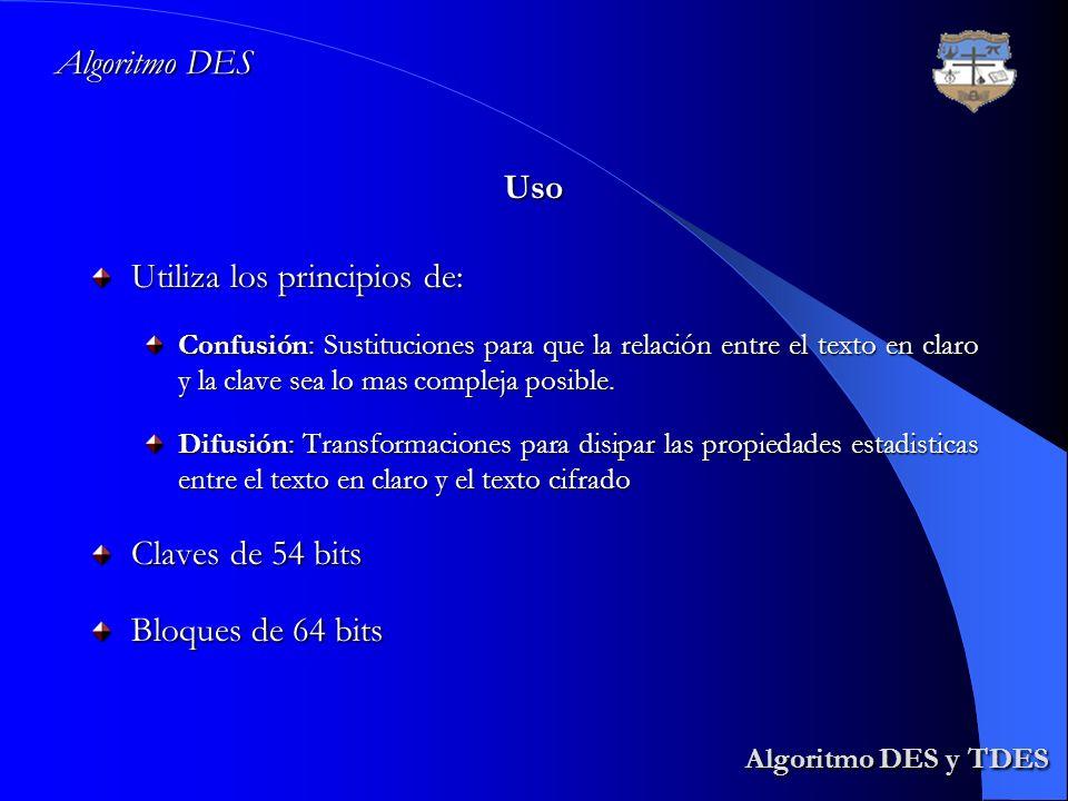 Algoritmo DES Algoritmo DES y TDES Algoritmo DES y TDES Utiliza los principios de: Confusión: Sustituciones para que la relación entre el texto en cla