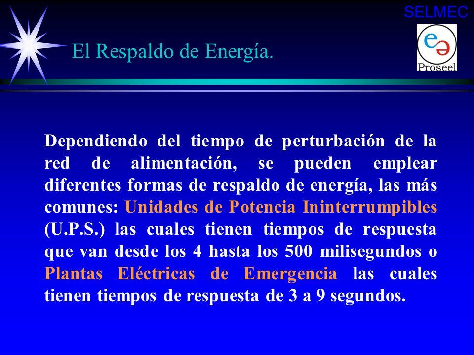 El Respaldo de Energía. SELMEC El suministro de energía eléctrica actualmente es de gran importancia en la alimentación de los sistemas eléctricos, ya