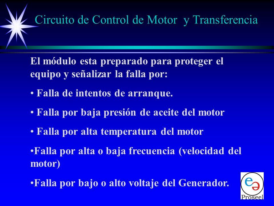 El módulo de control cuenta con: Un display de cristal liquido alfanumérico. 14 leds indicadores de funciones. Puerto de comunicación serie, para moni