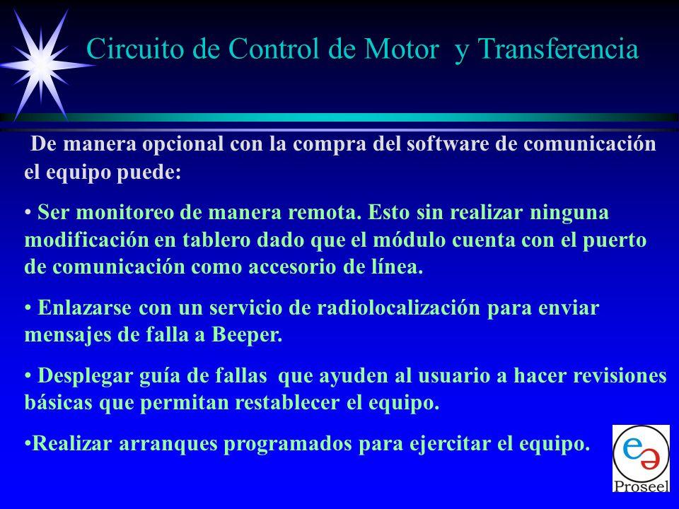 Como protecciones o alarmas adicionales el módulo cuenta con: Entrada para indicación y/o protección por bajo nivel de combustible. Entrada para indic