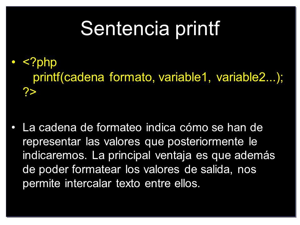 Ejemplo de PHP <?php printf( El numero dos con diferentes formatos: %d %f %.2f ,2,2,2); ?>