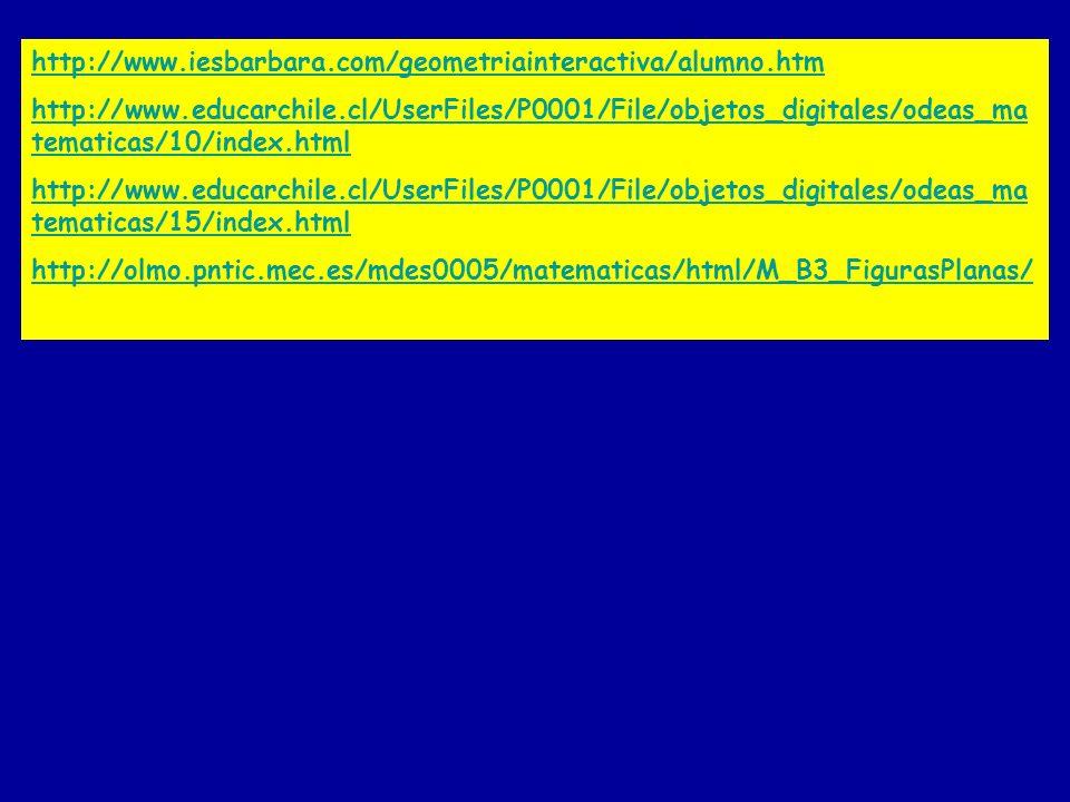 http://www.iesbarbara.com/geometriainteractiva/alumno.htm http://www.educarchile.cl/UserFiles/P0001/File/objetos_digitales/odeas_ma tematicas/10/index