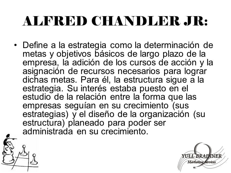 ALFRED CHANDLER JR: Define a la estrategia como la determinación de metas y objetivos básicos de largo plazo de la empresa, la adición de los cursos d
