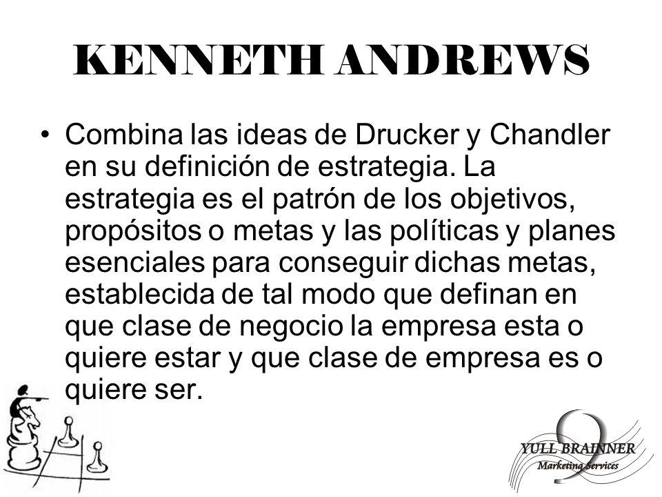 KENNETH ANDREWS Combina las ideas de Drucker y Chandler en su definición de estrategia. La estrategia es el patrón de los objetivos, propósitos o meta