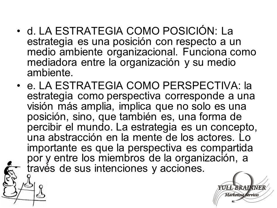 d. LA ESTRATEGIA COMO POSICIÓN: La estrategia es una posición con respecto a un medio ambiente organizacional. Funciona como mediadora entre la organi