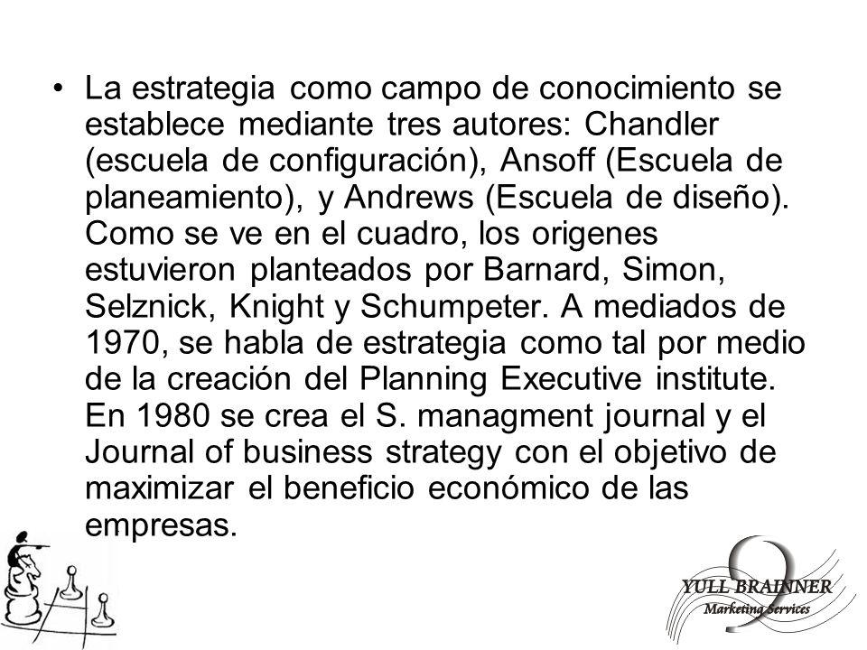 La estrategia como campo de conocimiento se establece mediante tres autores: Chandler (escuela de configuración), Ansoff (Escuela de planeamiento), y
