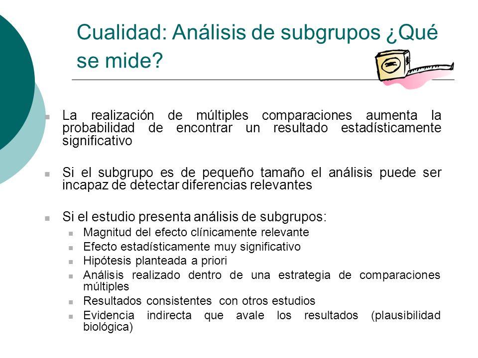 Cualidad: Análisis de subgrupos ¿Qué se mide.