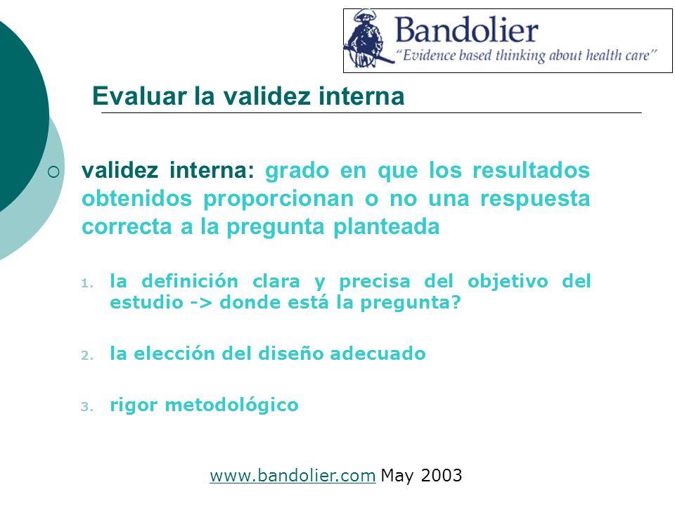 Evaluar la validez interna validez interna: grado en que los resultados obtenidos proporcionan o no una respuesta correcta a la pregunta planteada 1.