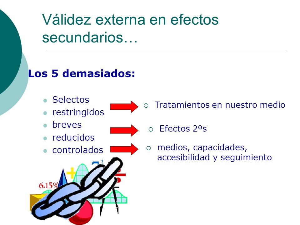 Los 5 demasiados: Selectos restringidos breves reducidos controlados Válidez externa en efectos secundarios… Tratamientos en nuestro medio Efectos 2ºs medios, capacidades, accesibilidad y seguimiento