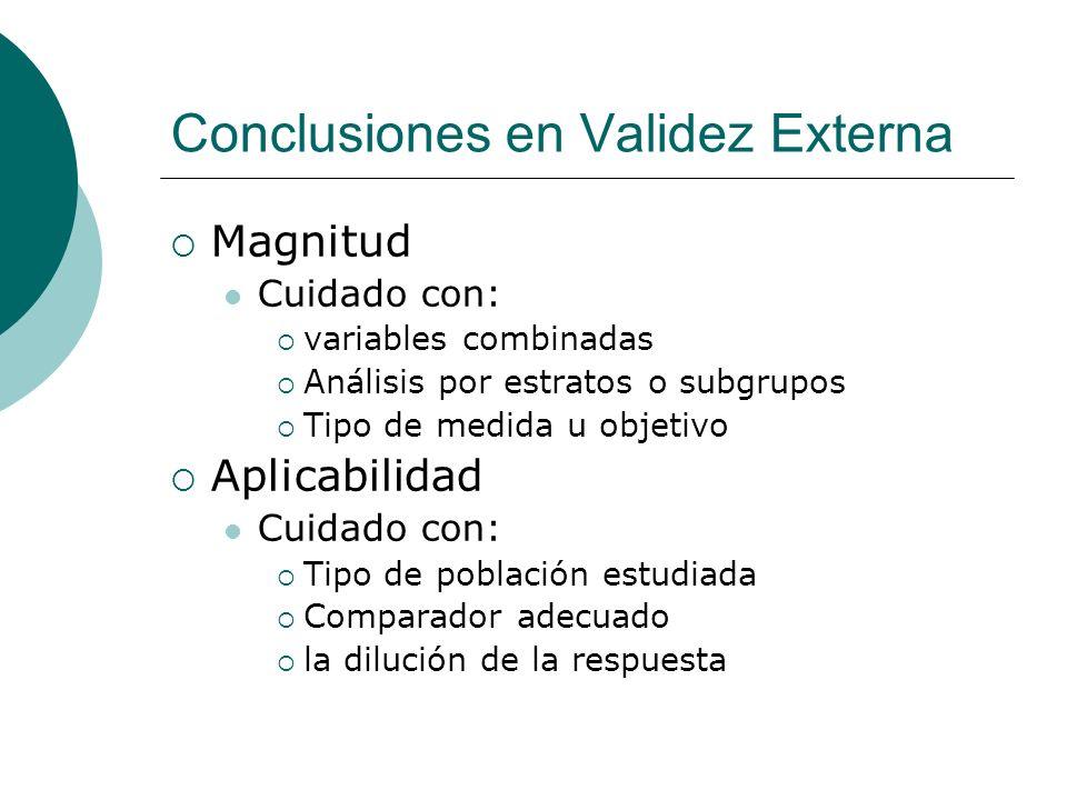 Conclusiones en Validez Externa Magnitud Cuidado con: variables combinadas Análisis por estratos o subgrupos Tipo de medida u objetivo Aplicabilidad Cuidado con: Tipo de población estudiada Comparador adecuado la dilución de la respuesta