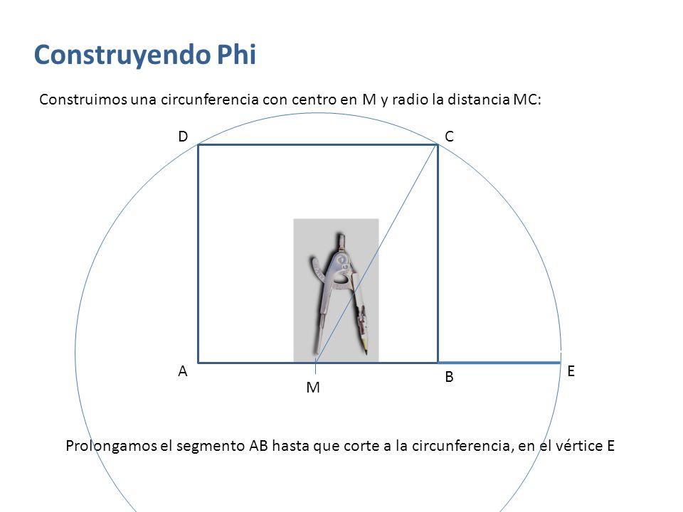 Construyendo Phi Levantamos una perpendicular al segmento AE, desde el vértice E, hasta la altura del cuadrado original: A B Cerramos el rectángulo uniendo F con C, y el rectángulo resultante AEFD es un ya un rectángulo en proporción áurea M CD E F