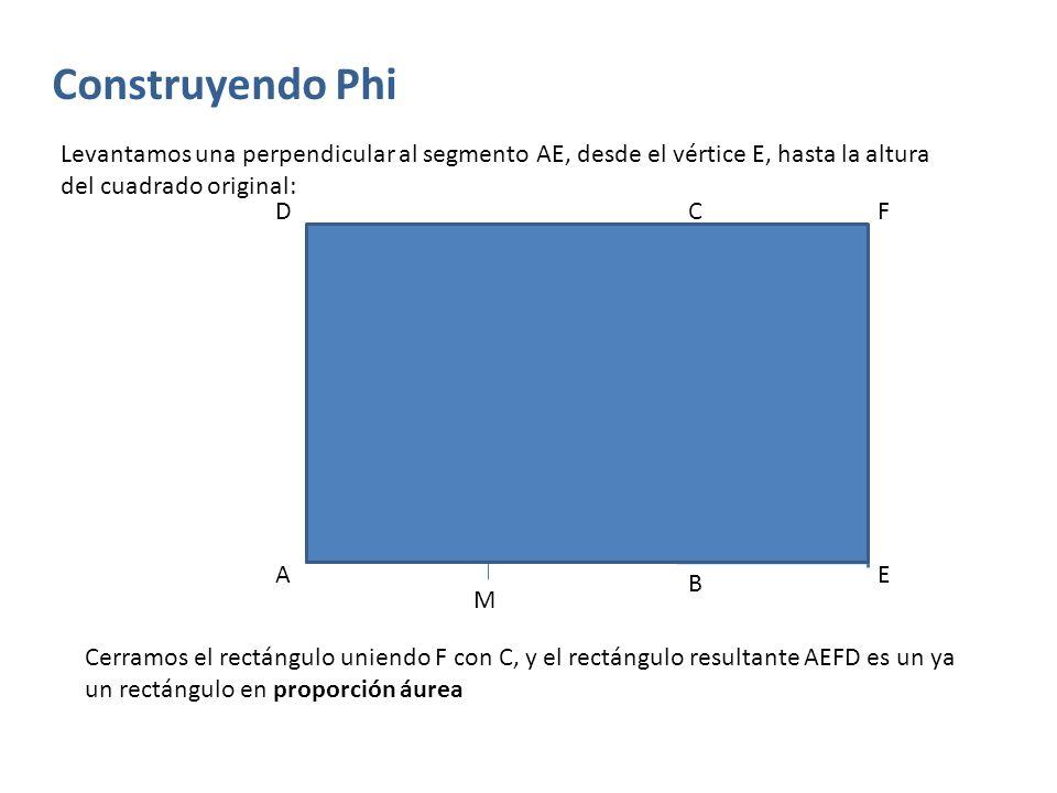 Construyendo Phi Levantamos una perpendicular al segmento AE, desde el vértice E, hasta la altura del cuadrado original: A B Cerramos el rectángulo un