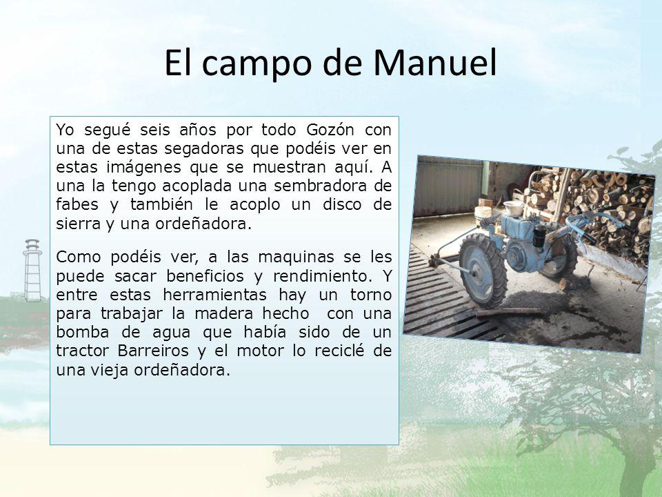 El campo de Manuel Esta piedra de afilar con agua es antigua, y funcionaba con un pedal. Ahora funciona con el motor de una lavadora. Estas hoces que