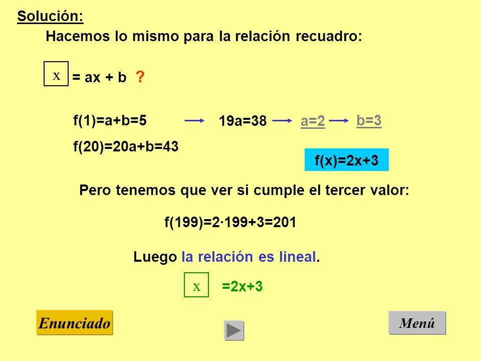 Menú Enunciado Solución: Hacemos lo mismo para la relación recuadro: f(1)=a+b=5 f(20)=20a+b=43 19a=38a=2 b=3 Pero tenemos que ver si cumple el tercer