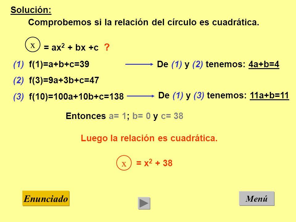 Menú Enunciado Solución: Comprobemos si la relación del círculo es cuadrática. (1) f(1)=a+b+c=39 (2) f(3)=9a+3b+c=47 (3) f(10)=100a+10b+c=138 De (1) y
