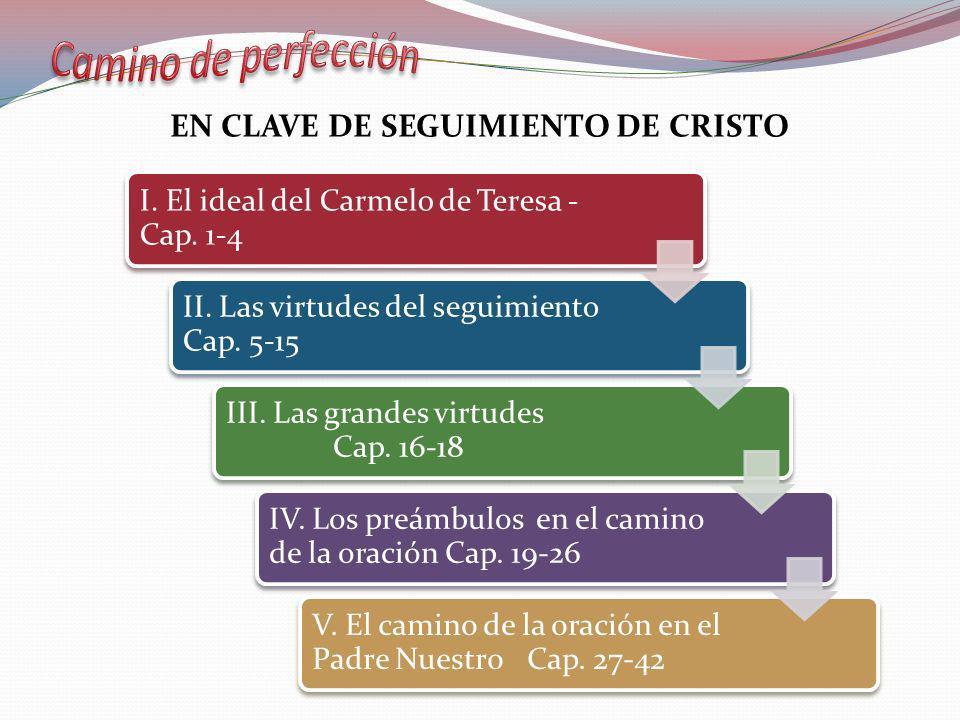 I. El ideal del Carmelo de Teresa - Cap. 1-4 II. Las virtudes del seguimiento Cap. 5-15 III. Las grandes virtudes Cap. 16-18 IV. Los preámbulos en el