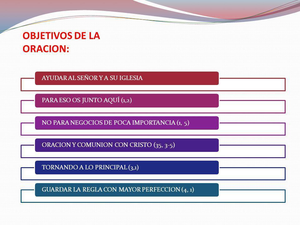 OBJETIVOS DE LA ORACION: AYUDAR AL SEÑOR Y A SU IGLESIAPARA ESO OS JUNTO AQUÍ (1,2)NO PARA NEGOCIOS DE POCA IMPORTANCIA (1, 5)ORACION Y COMUNION CON C