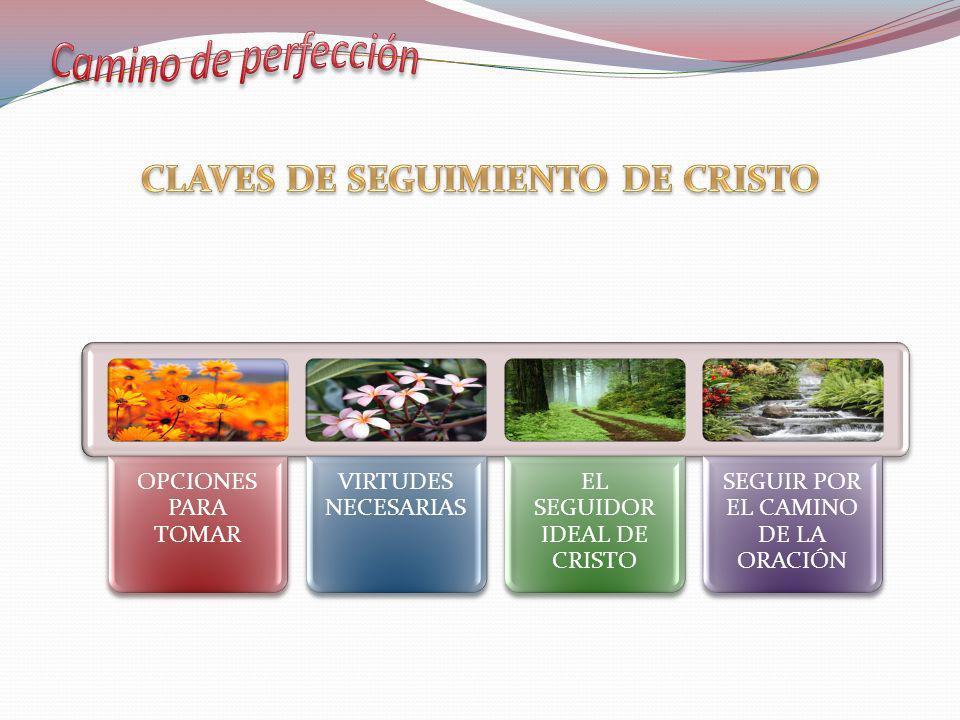 SEGUIR CON TODA PERFECCIÓN C 1,2 AYUDAR CON LO QUE PUDIÉSEMOS: LA ORACIÓN C1,2 COMO LOS DISCIPULOS evangélicos C 1,1 cristocéntrico C 25 apostólico C 3 OPCIONES PARA TOMARVIRTUDES NECESARIAS EL SEGUIDOR IDEAL DE CRISTO SEGUIR POR EL CAMINO DE LA ORACIÓN