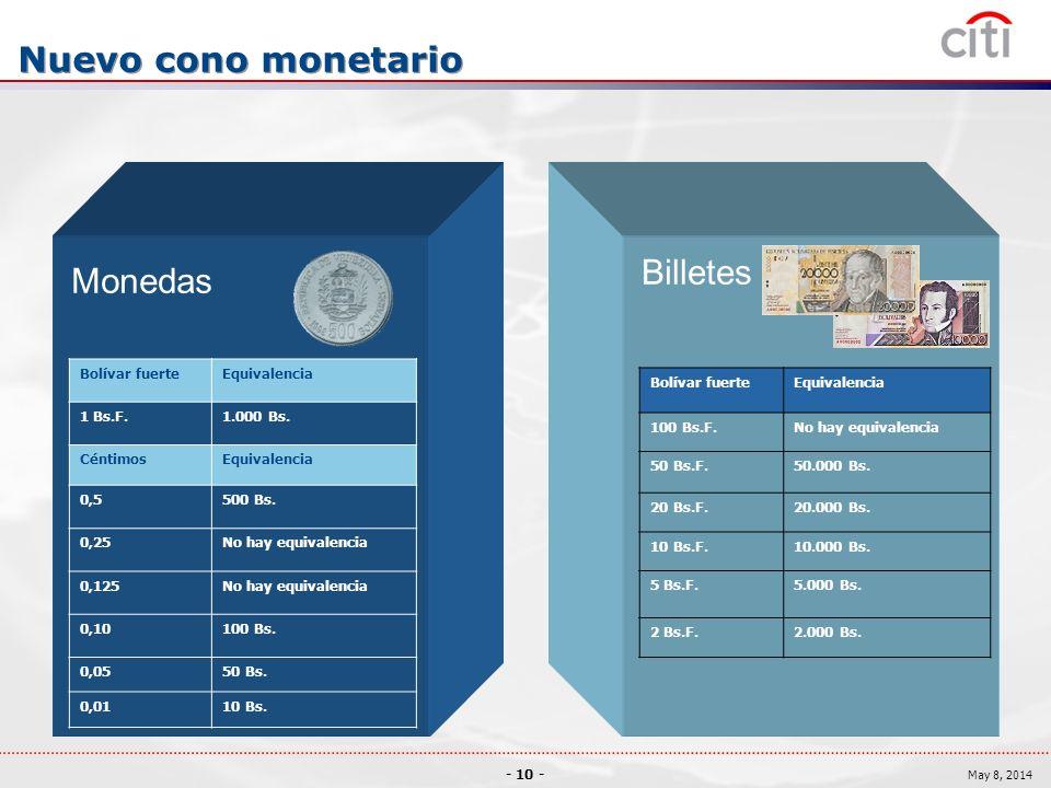 - 10 - May 8, 2014 Nuevo cono monetario Monedas Billetes Bolívar fuerteEquivalencia 1 Bs.F.1.000 Bs.