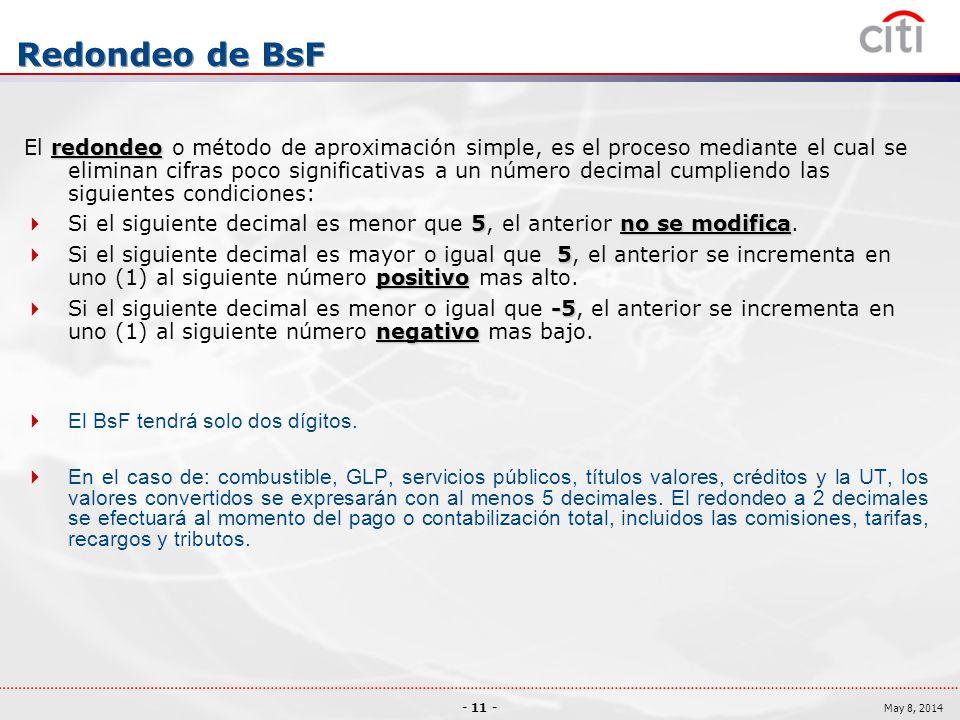 - 11 - May 8, 2014 Redondeo de BsF redondeo El redondeo o método de aproximación simple, es el proceso mediante el cual se eliminan cifras poco significativas a un número decimal cumpliendo las siguientes condiciones: 5no se modifica Si el siguiente decimal es menor que 5, el anterior no se modifica.