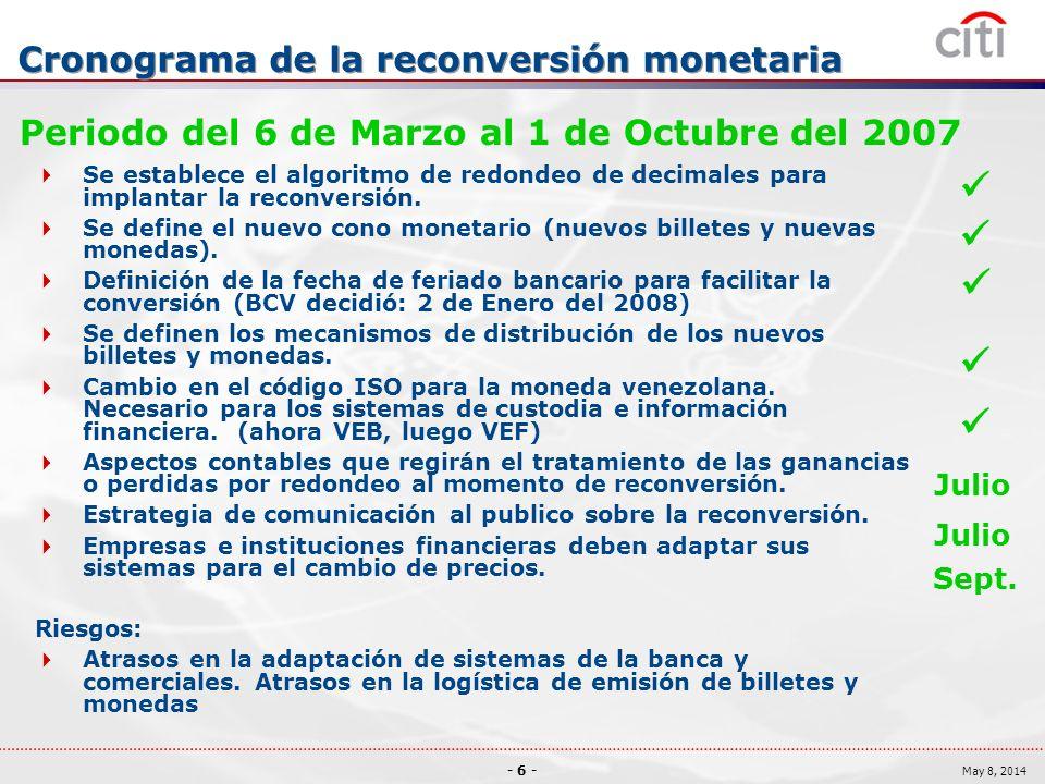 - 6 - May 8, 2014 Cronograma de la reconversión monetaria Periodo del 6 de Marzo al 1 de Octubre del 2007 Se establece el algoritmo de redondeo de decimales para implantar la reconversión.