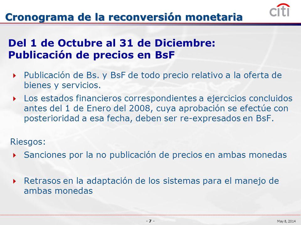 - 7 - May 8, 2014 Cronograma de la reconversión monetaria Del 1 de Octubre al 31 de Diciembre: Publicación de precios en BsF Publicación de Bs.
