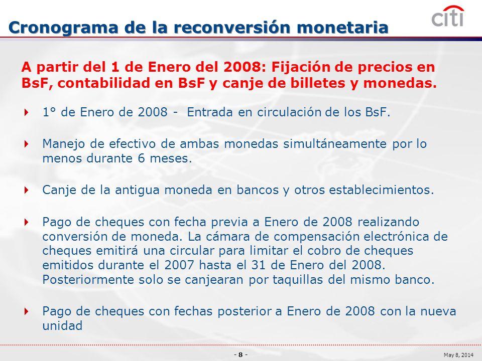 - 8 - May 8, 2014 Cronograma de la reconversión monetaria A partir del 1 de Enero del 2008: Fijación de precios en BsF, contabilidad en BsF y canje de billetes y monedas.