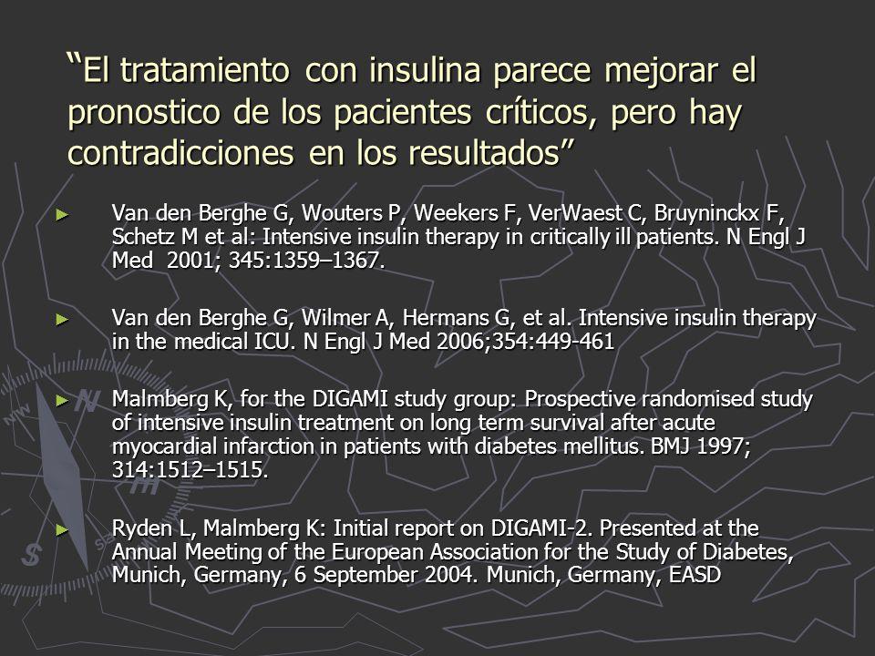 El tratamiento con insulina parece mejorar el pronostico de los pacientes críticos, pero hay contradicciones en los resultados El tratamiento con insulina parece mejorar el pronostico de los pacientes críticos, pero hay contradicciones en los resultados Van den Berghe G, Wouters P, Weekers F, VerWaest C, Bruyninckx F, Schetz M et al: Intensive insulin therapy in critically ill patients.