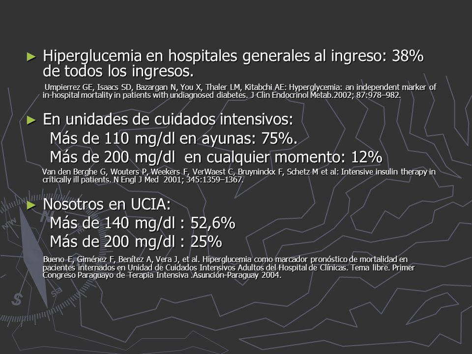Hiperglucemia en hospitales generales al ingreso: 38% de todos los ingresos.