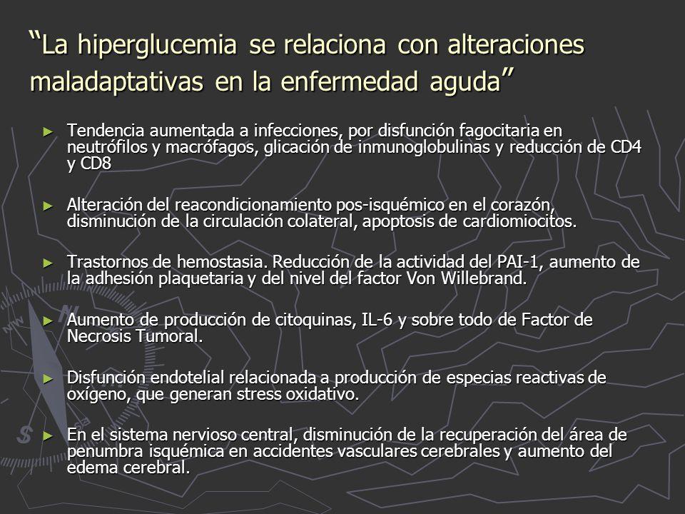 La hiperglucemia se relaciona con alteraciones maladaptativas en la enfermedad aguda La hiperglucemia se relaciona con alteraciones maladaptativas en la enfermedad aguda Tendencia aumentada a infecciones, por disfunción fagocitaria en neutrófilos y macrófagos, glicación de inmunoglobulinas y reducción de CD4 y CD8 Tendencia aumentada a infecciones, por disfunción fagocitaria en neutrófilos y macrófagos, glicación de inmunoglobulinas y reducción de CD4 y CD8 Alteración del reacondicionamiento pos-isquémico en el corazón, disminución de la circulación colateral, apoptosis de cardiomiocitos.