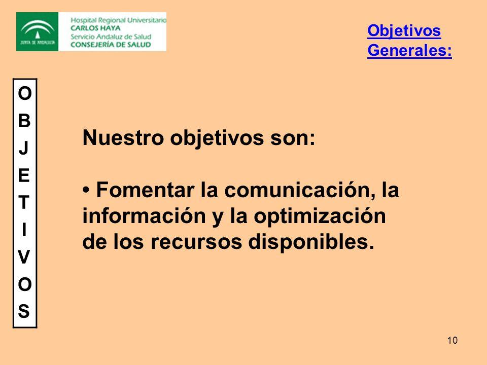 10 Objetivos Generales: Nuestro objetivos son: Fomentar la comunicación, la información y la optimización de los recursos disponibles. OBJETIVOSOBJETI