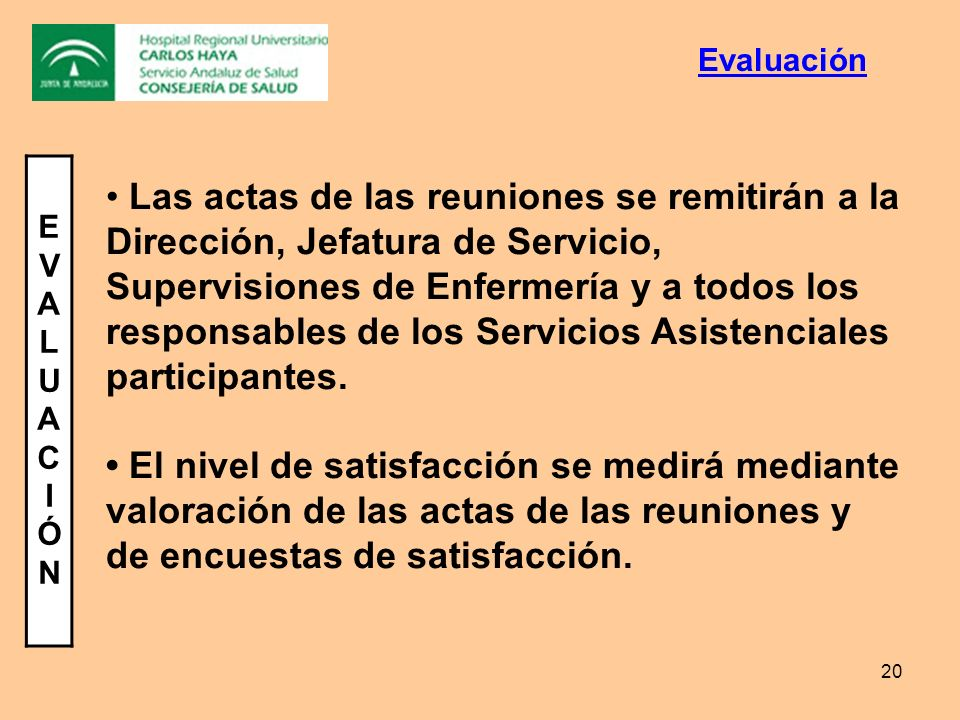 20 EVALUACIÓNEVALUACIÓN Las actas de las reuniones se remitirán a la Dirección, Jefatura de Servicio, Supervisiones de Enfermería y a todos los respon
