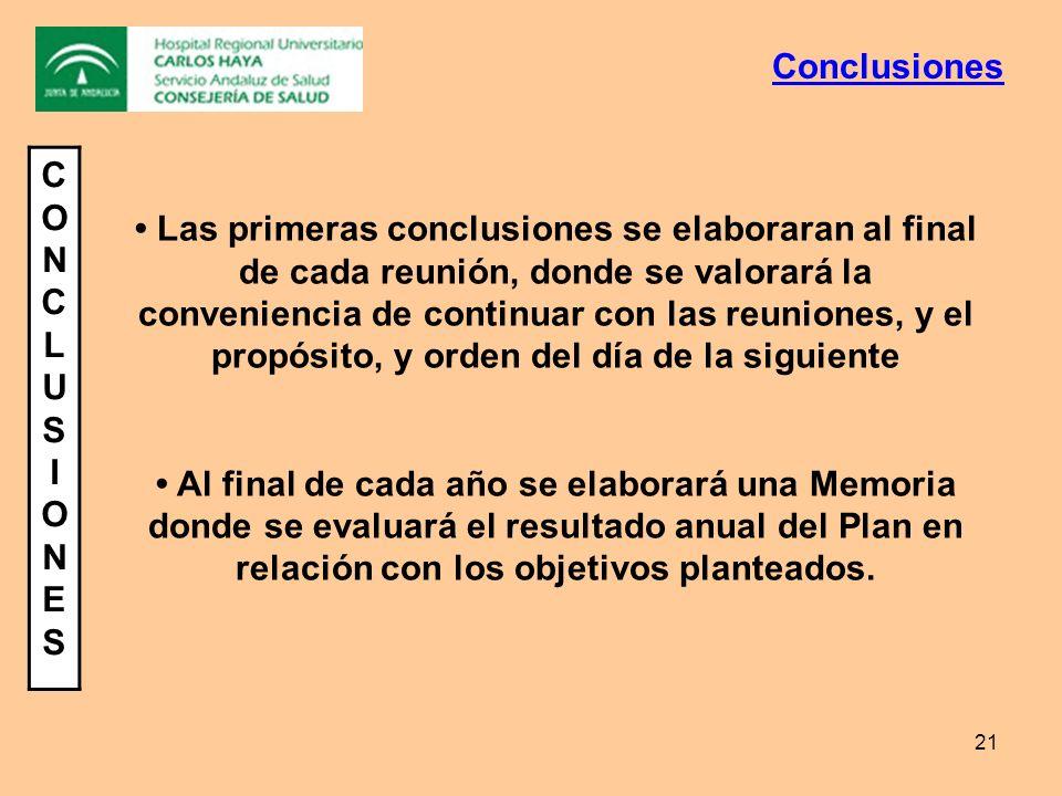 21 CONCLUSIONESCONCLUSIONES Las primeras conclusiones se elaboraran al final de cada reunión, donde se valorará la conveniencia de continuar con las r