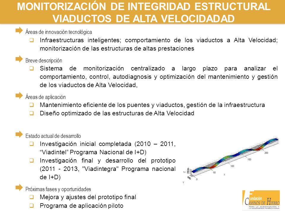 MONITORIZACIÓN DE INTEGRIDAD ESTRUCTURAL VIADUCTOS DE ALTA VELOCIDADAD Áreas de innovación tecnológica Infraestructuras inteligentes; comportamiento d