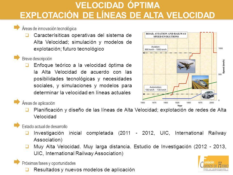 VELOCIDAD ÓPTIMA EXPLOTACIÓN DE LÍNEAS DE ALTA VELOCIDAD Áreas de innovación tecnológica Caracterísiticas operativas del sistema de Alta Velocidad; si