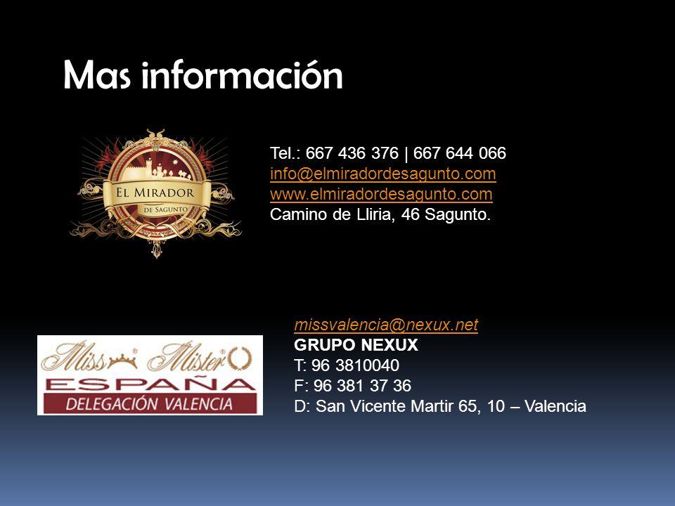 Mas información Tel.: 667 436 376 | 667 644 066 info@elmiradordesagunto.com www.elmiradordesagunto.com Camino de Lliria, 46 Sagunto.