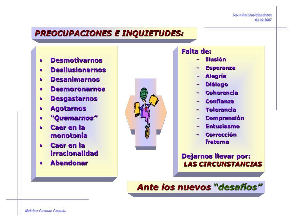 Melchor Guzmán Guzmán Reunión Coordinadores 03.02.2007 Pensar siempre en positivo, no permitiendo la entrada en nuestra mente de derrotismo y actitudes deprimentes ó desesperanzadoras.