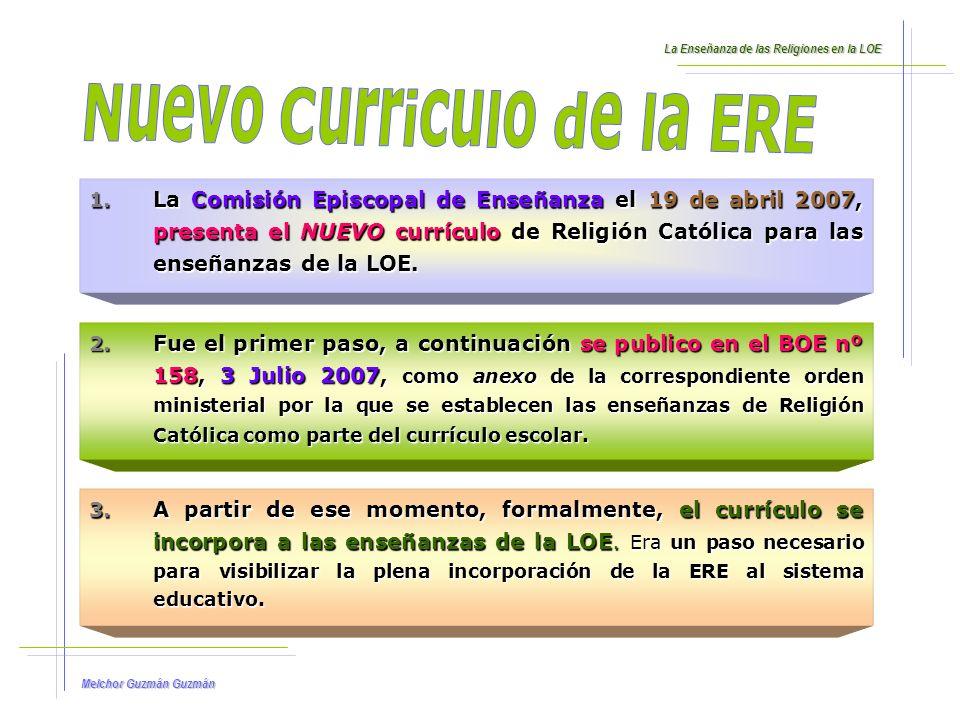 Melchor Guzmán Guzmán El concepto de currículo, establecido en el Artículo 6 de la LOE, incluye: 1.