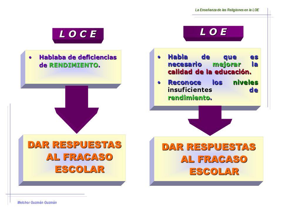 Melchor Guzmán Guzmán La Enseñanza de las Religiones en la LOE 1.La falta de esfuerzo exigido a los estudiantes, y la ausencia de mecanismos de reconocimiento social para ese esfuerzo.
