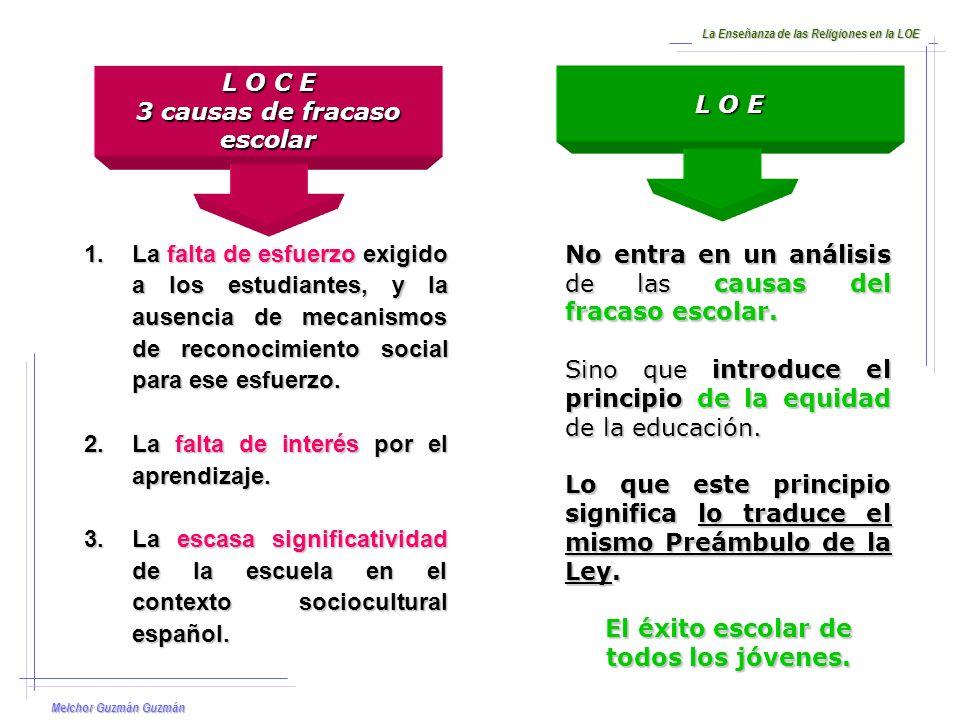 Melchor Guzmán Guzmán La Enseñanza de las Religiones en la LOE 1.La creación de una cultura del esfuerzo.
