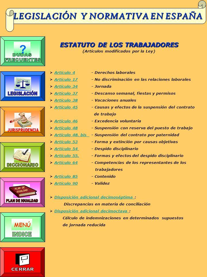 LEGISLACIÓN Y NORMATIVA EN ESPAÑA MENÚ ?