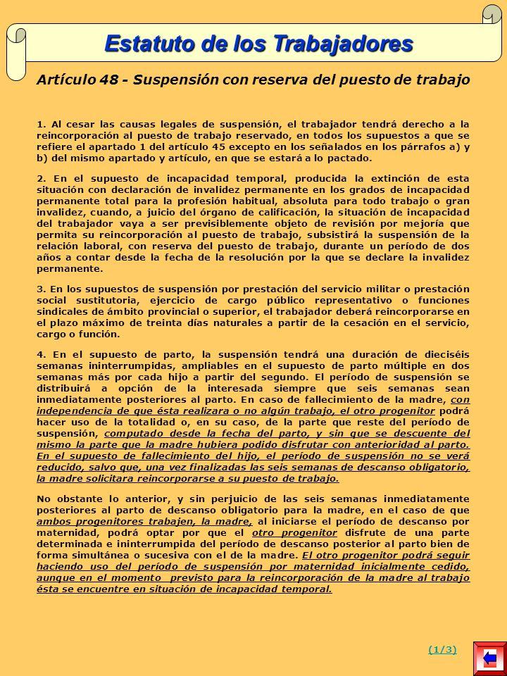 Artículo 48 - Suspensión con reserva del puesto de trabajo 1.